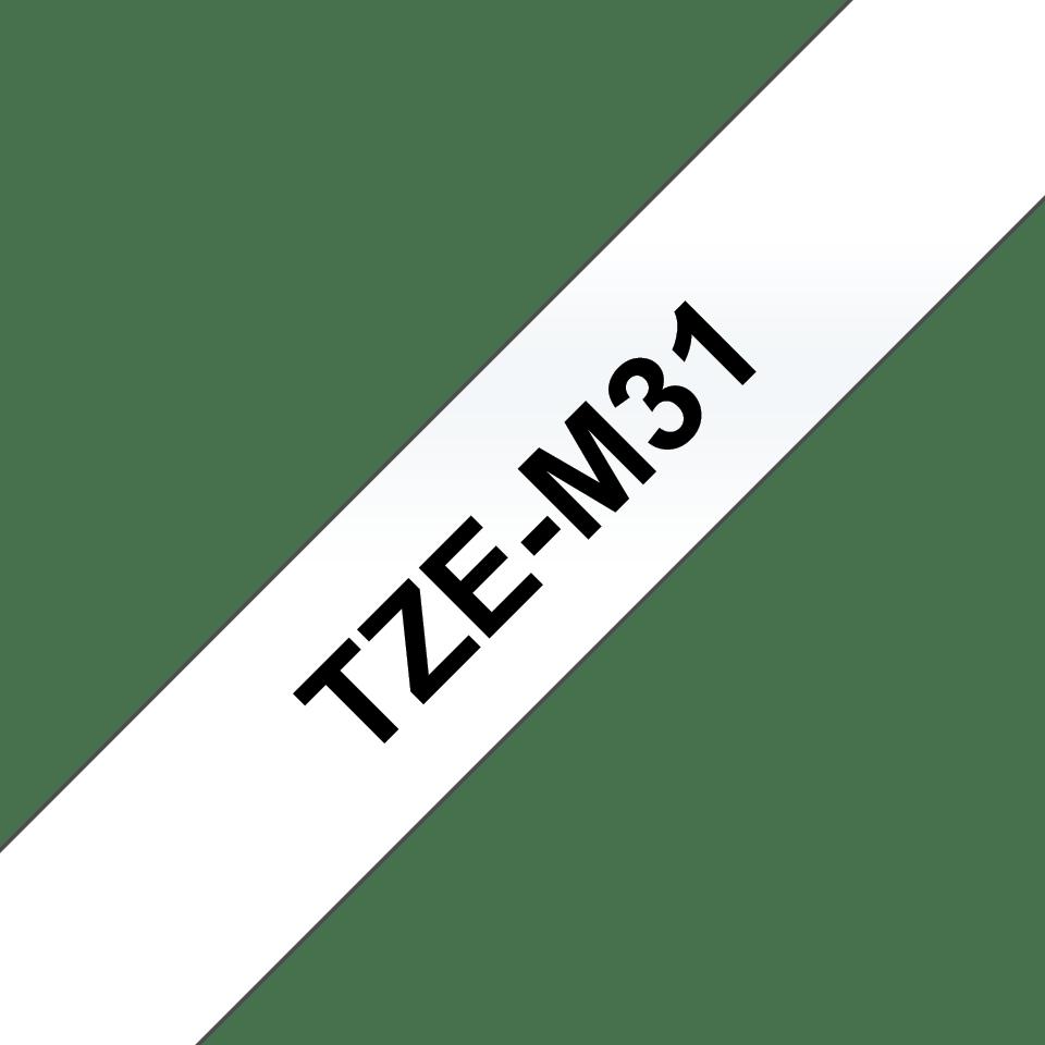 Original Brother TZeM31 tape – sort på klar, mat, 12 mm bred