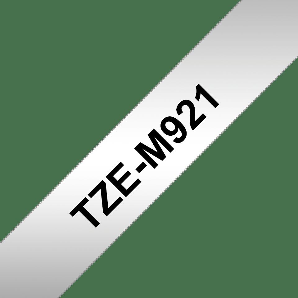 Original Brother TZeM921 tape – sort på mat sølv, 9 mm bred