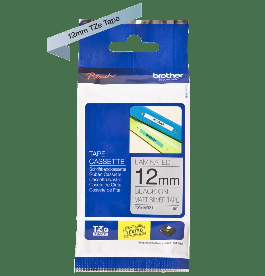 Original Brother TZe-M931 tape – sort på mat sølv, 12 mm bred 2