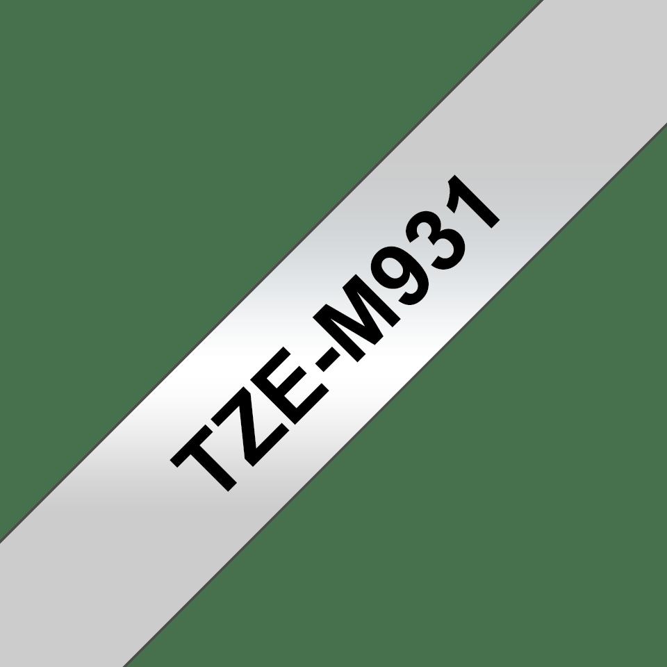 Original Brother TZe-M931 tape – sort på mat sølv, 12 mm bred 3