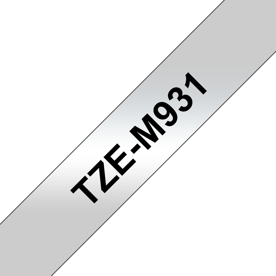 Original Brother TZe-M931 tape – sort på mat sølv, 12 mm bred