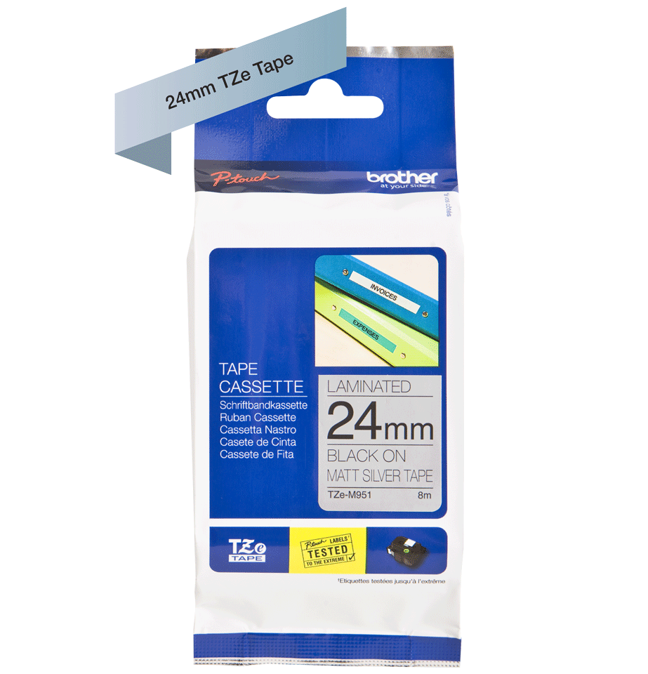 Original Brother TZe-M951 tape – sort på mat sølv, 24 mm bred 3