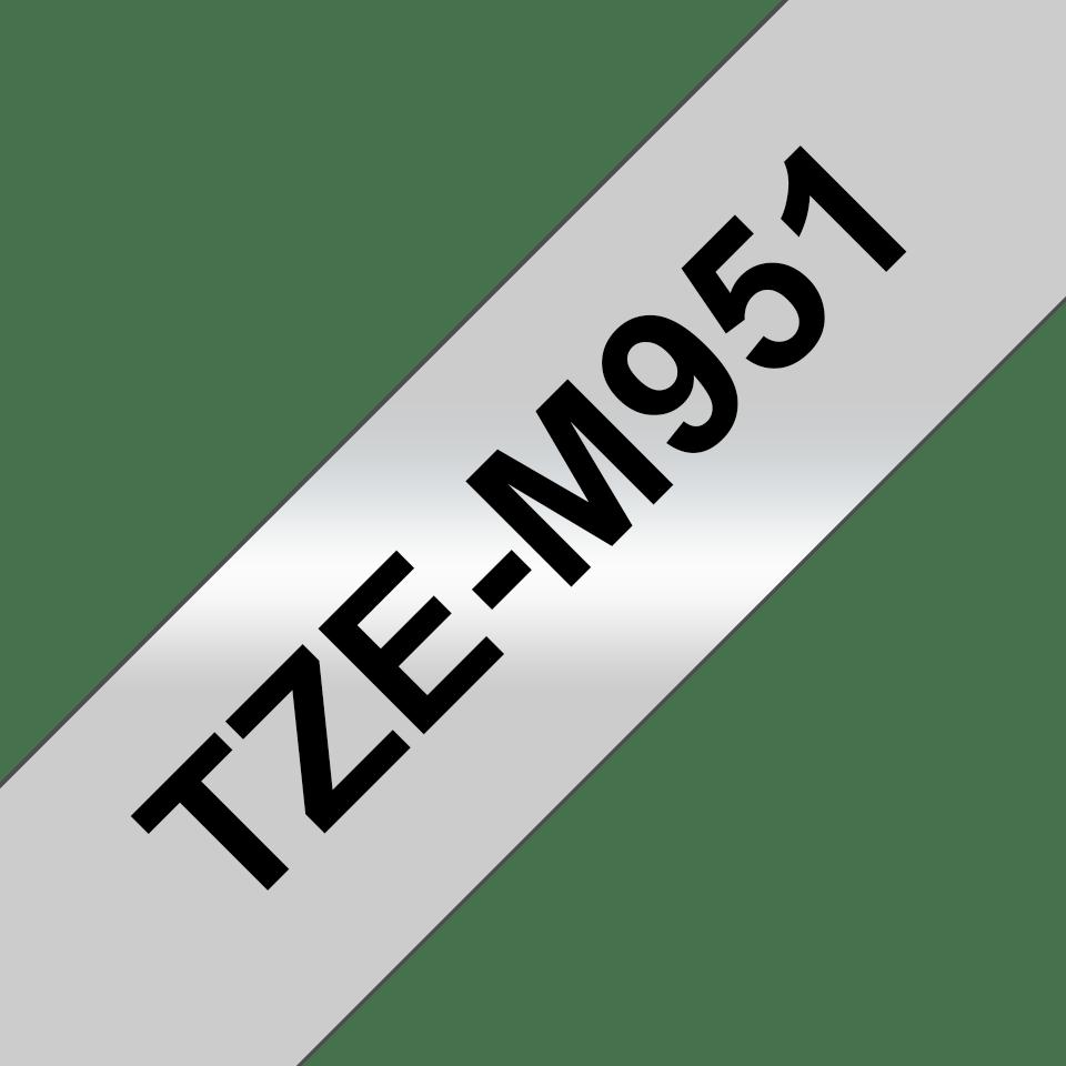 Original Brother TZe-M951 tape – sort på mat sølv, 24 mm bred