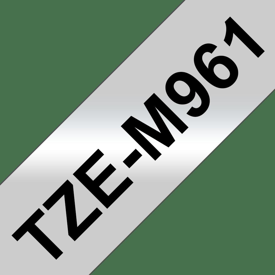 Original Brother TZeM961 tape – sort på mat sølv, 36 mm bred