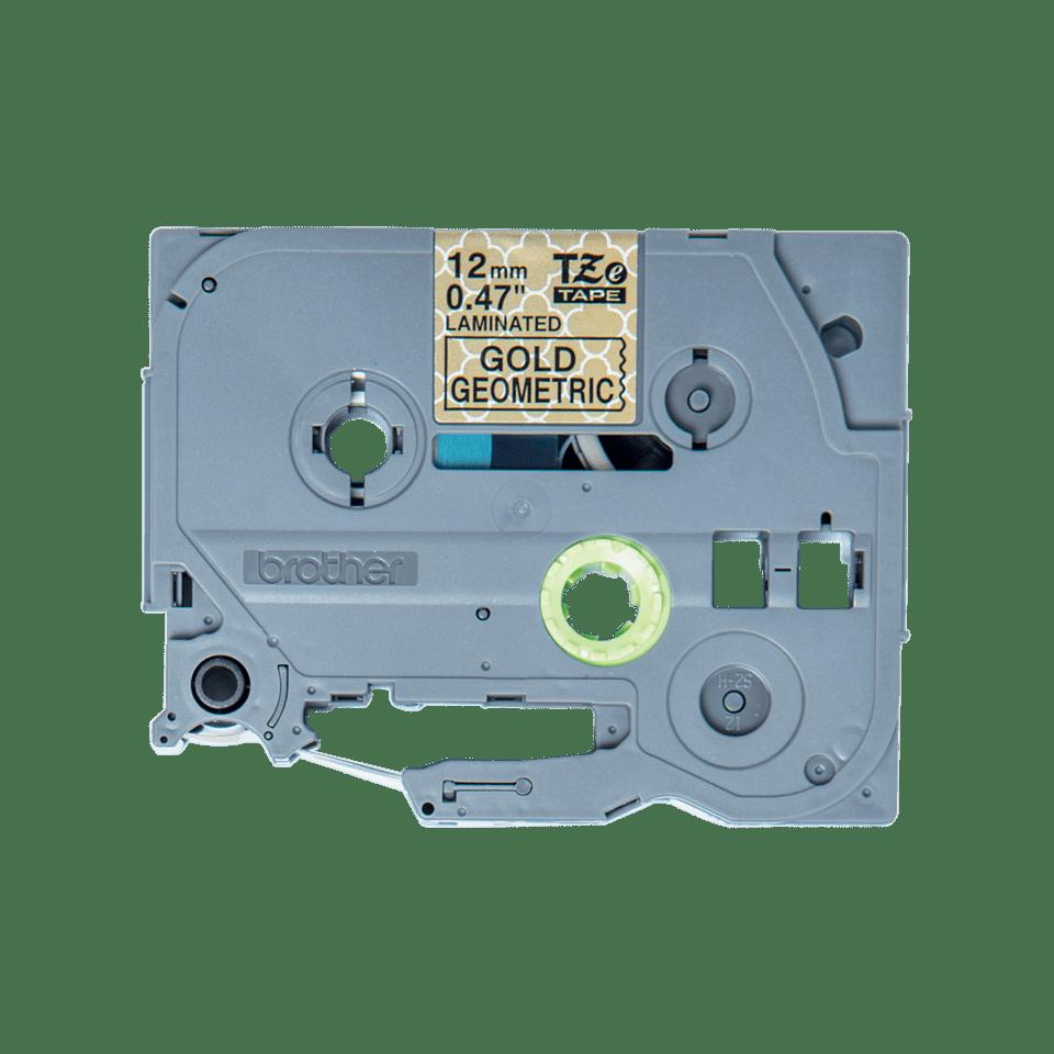 Original Brother TZeMPGG31 tape – sort på guldmønster, 12 mm bred