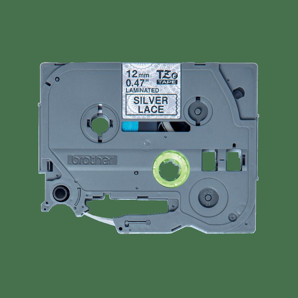 Original Brother TZeMPSL31 tape – sort på sølv blondemønster, 12 mm bred