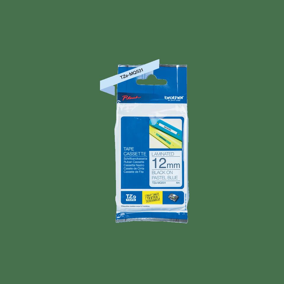 Original Brother TZe-MQ531 tape – sort på pastelblå, 12 mm bred 3