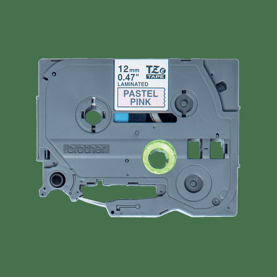 Original Brother TZeMQE31 tape – sort på lyserød, 12 mm bred 2