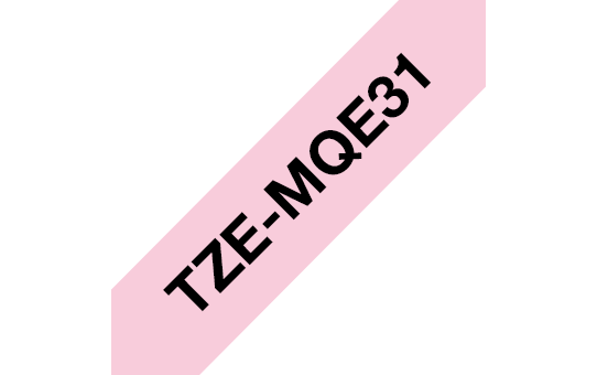 Original Brother TZeMQE31 tape – sort på lyserød, 12 mm bred