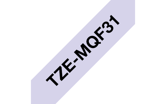 Original Brother TZeMQF31 tape – sort på pastellilla, 12 mm bred