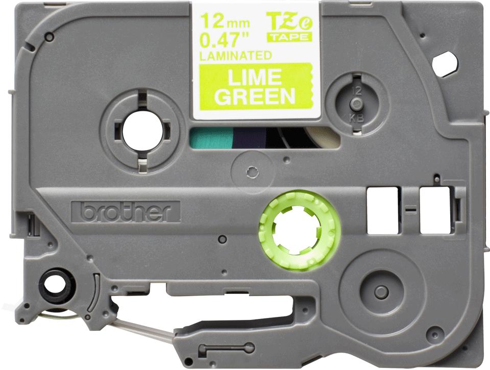 Original Brother TZeMQG35 tape – hvid på limegrøn, 12 mm bred