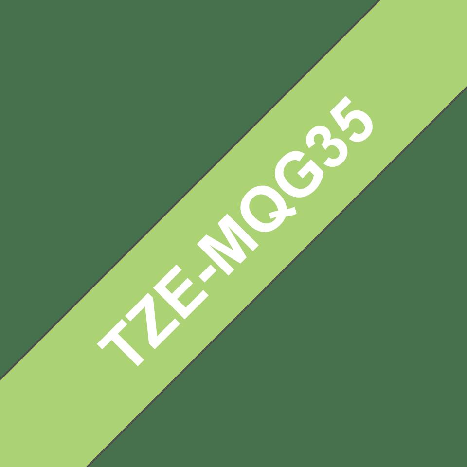 Original Brother TZeMQG35 tape – hvid på limegrøn, 12 mm bred 3