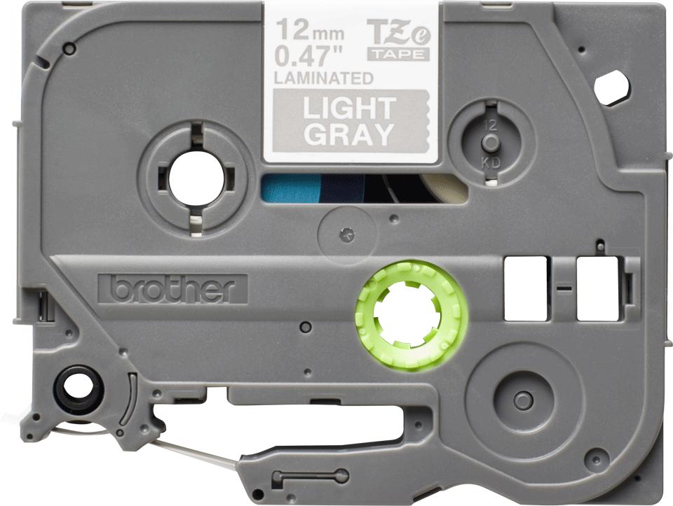 Original Brother TZe-MQL35 tape – hvid på grå 12 mm bred 2