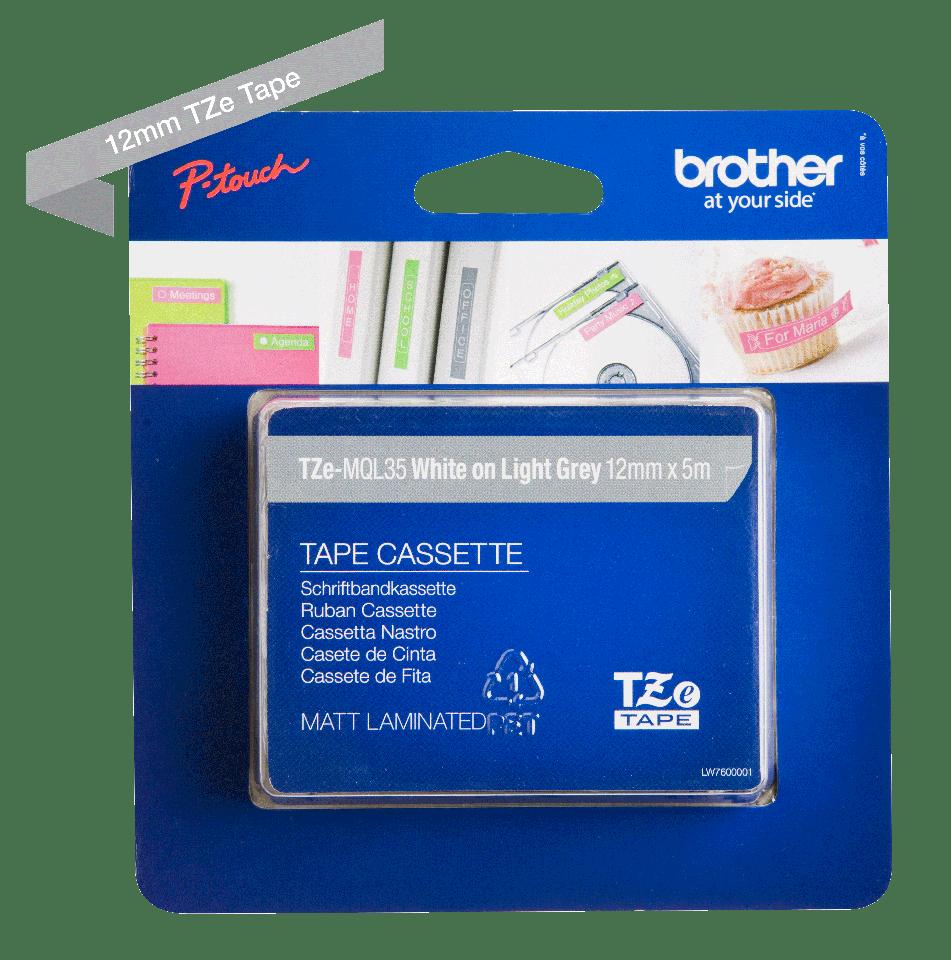 Original Brother TZe-MQL35 tape – hvid på grå 12 mm bred 3