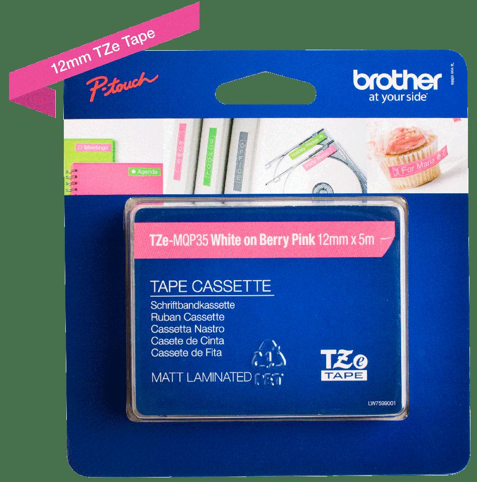 Brother TZe-MQP35 hvid på pink-tape – 12 mm bred 3