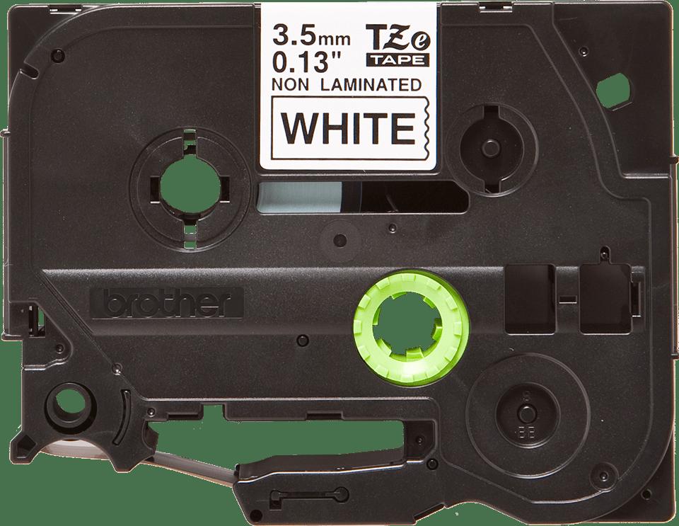 Original Brother TZeN201 tape – sort på hvid, 3,5 mm bred