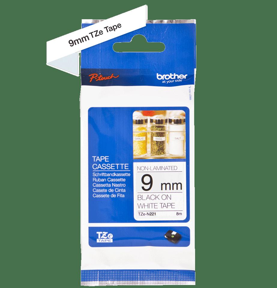 Original Brother TZeN221 tape – sort på hvid, 9 mm bred 3