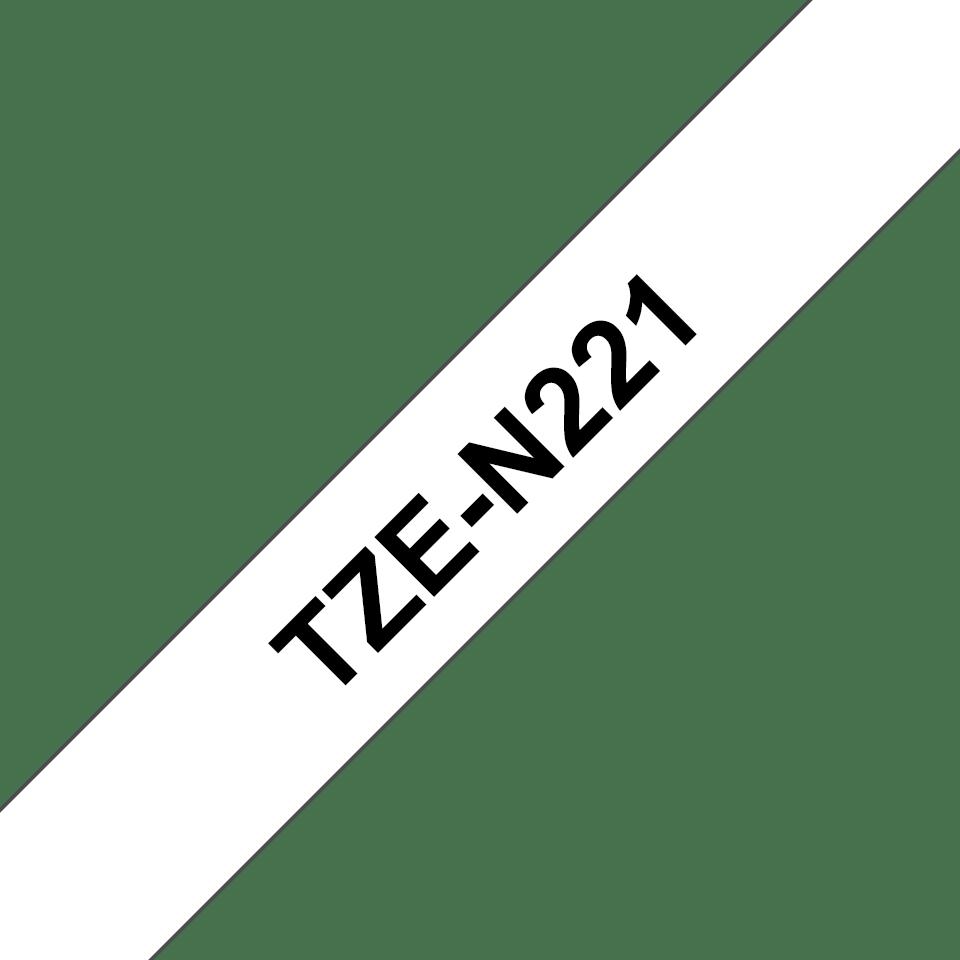 Original Brother TZeN221 tape – sort på hvid, 9 mm bred