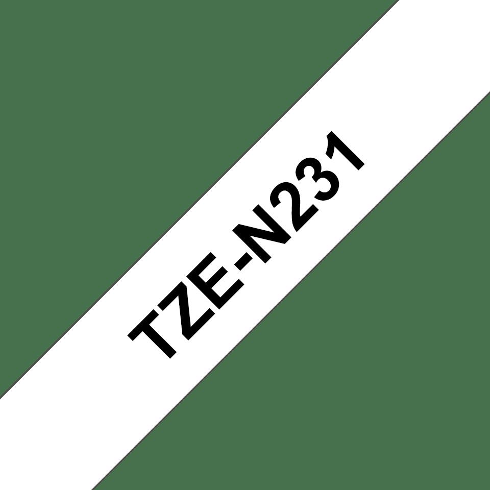 Original Brother TZe-N231 tape – sort på hvid, 12 mm bred