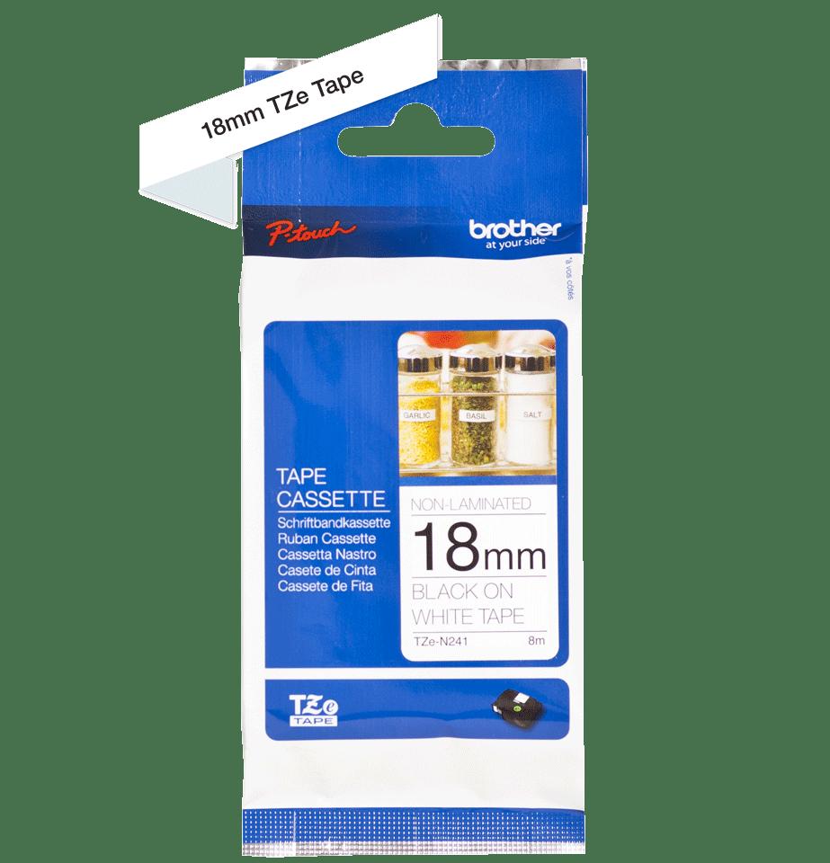 Original Brother TZeN241 tape – sort på hvid, 18 mm bred 3
