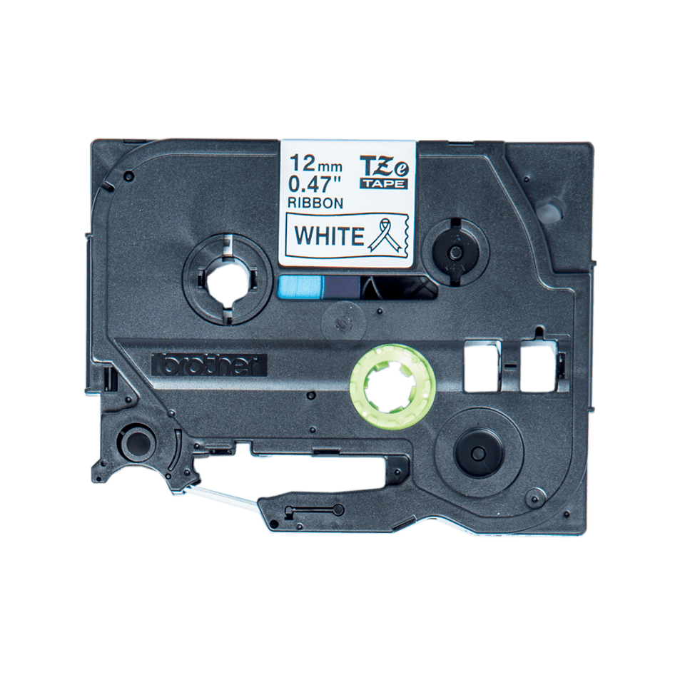Original Brother TZe-R231 satinbånd – sort på hvid, 12 mm bred