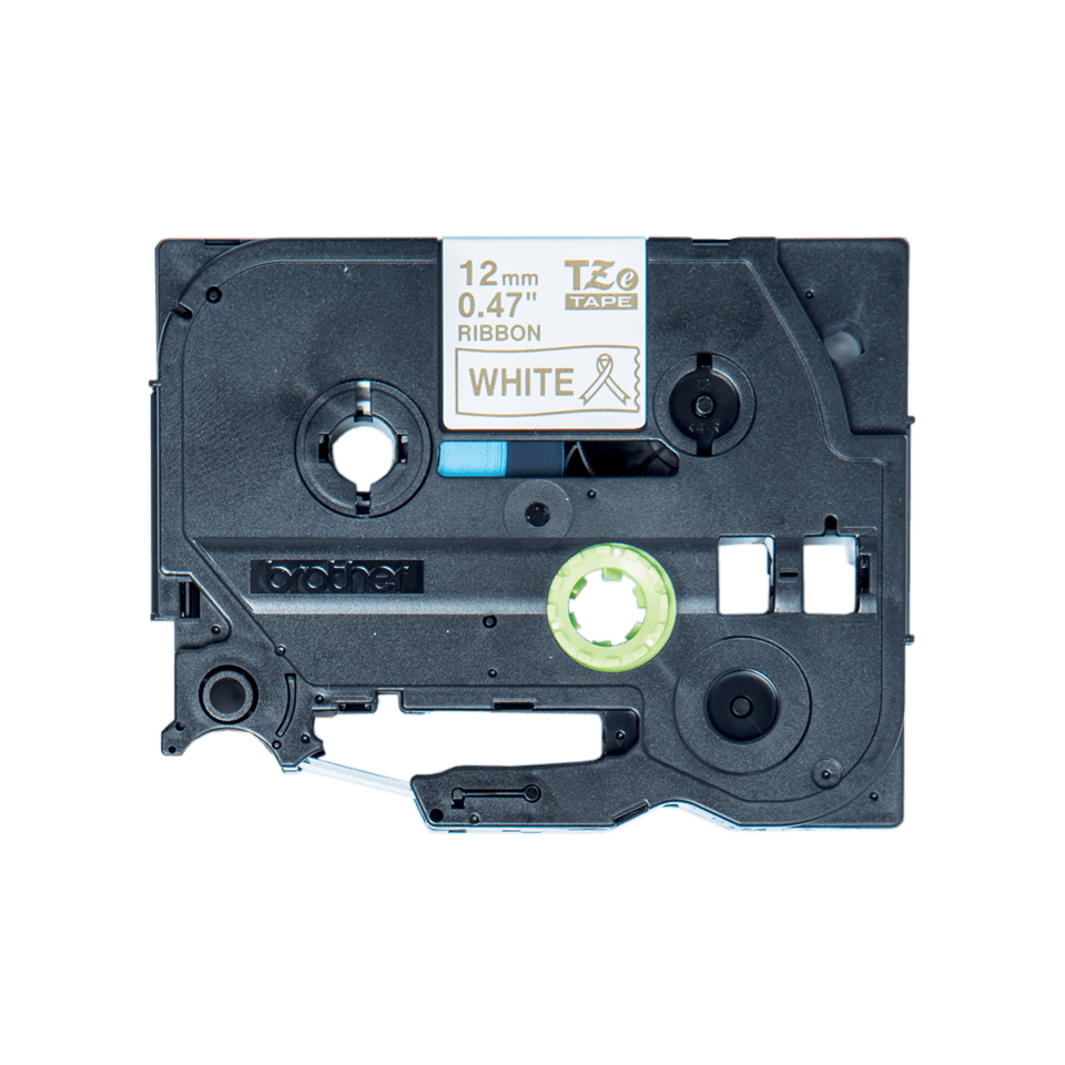 Original Brother TZe-R234 satinbånd – guld på hvid, 12 mm bred 7