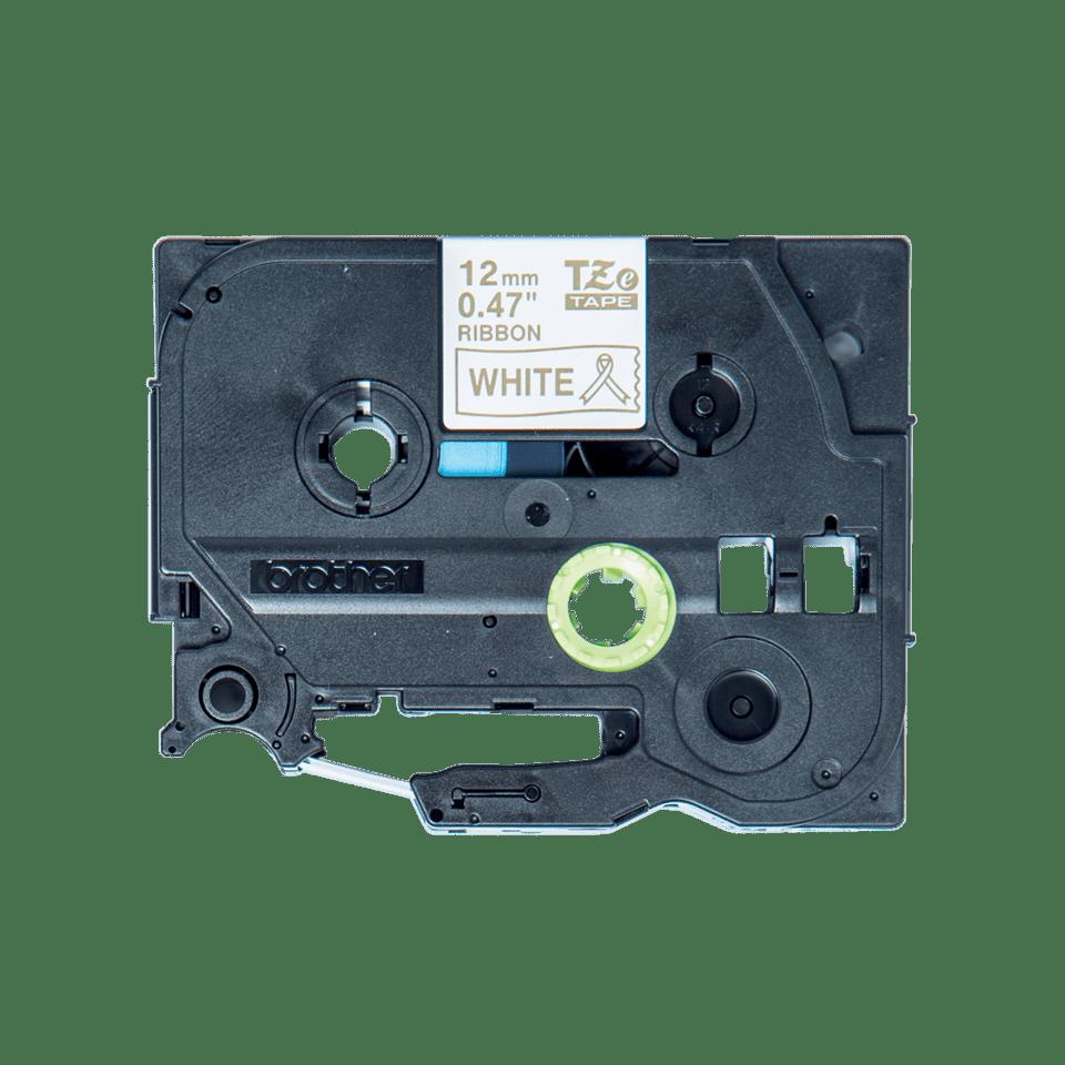 Original Brother TZe-R234 satinbånd – guld på hvid, 12 mm bred 2