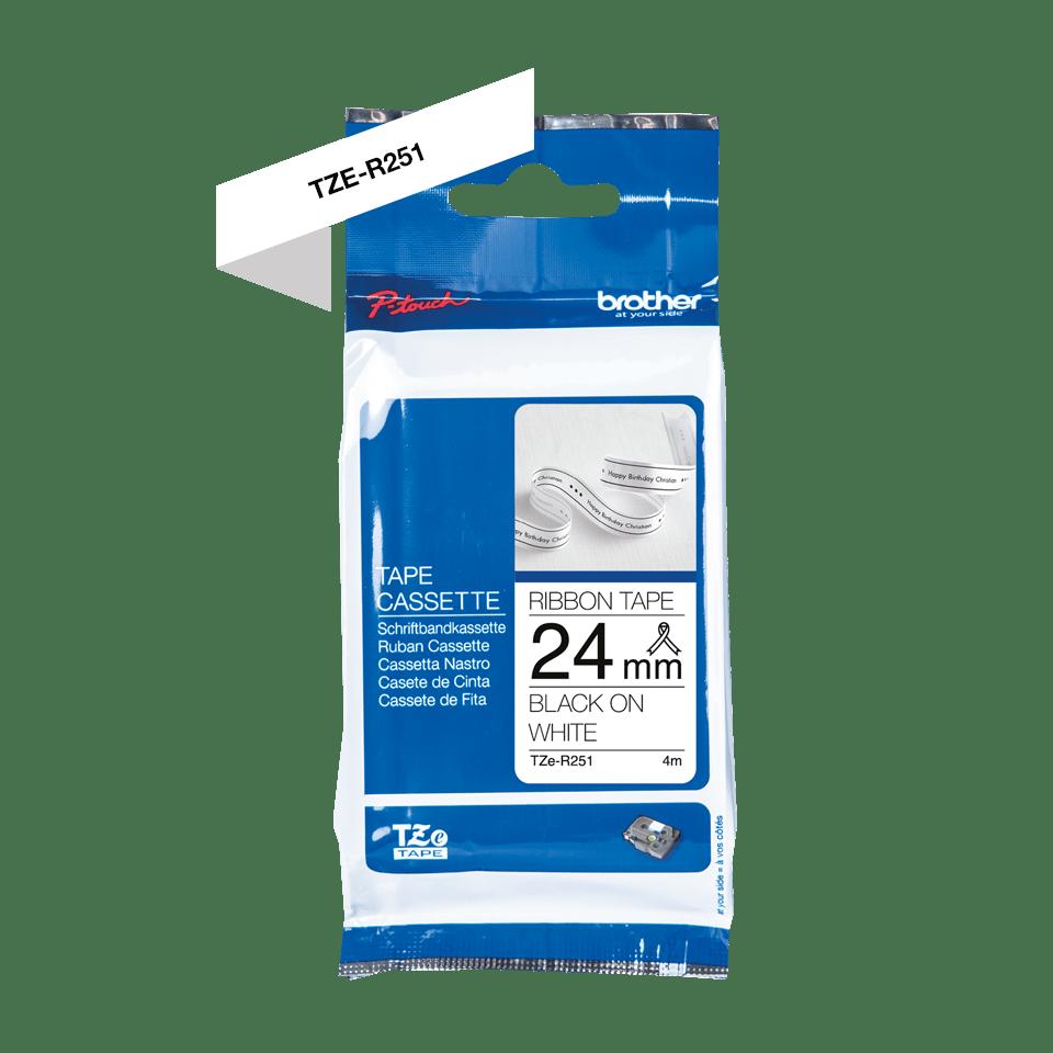 Originalt Brother TZeR251 satinbånd - Sort på hvid, 24 mm bredt 5