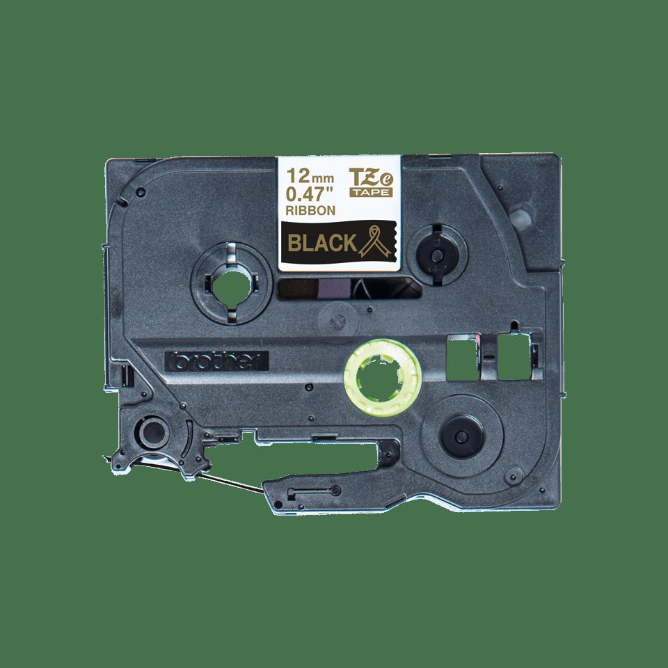 Originalt Brother TZe-R334 satinbånd – Guld på sort, 12 mm bredt 4