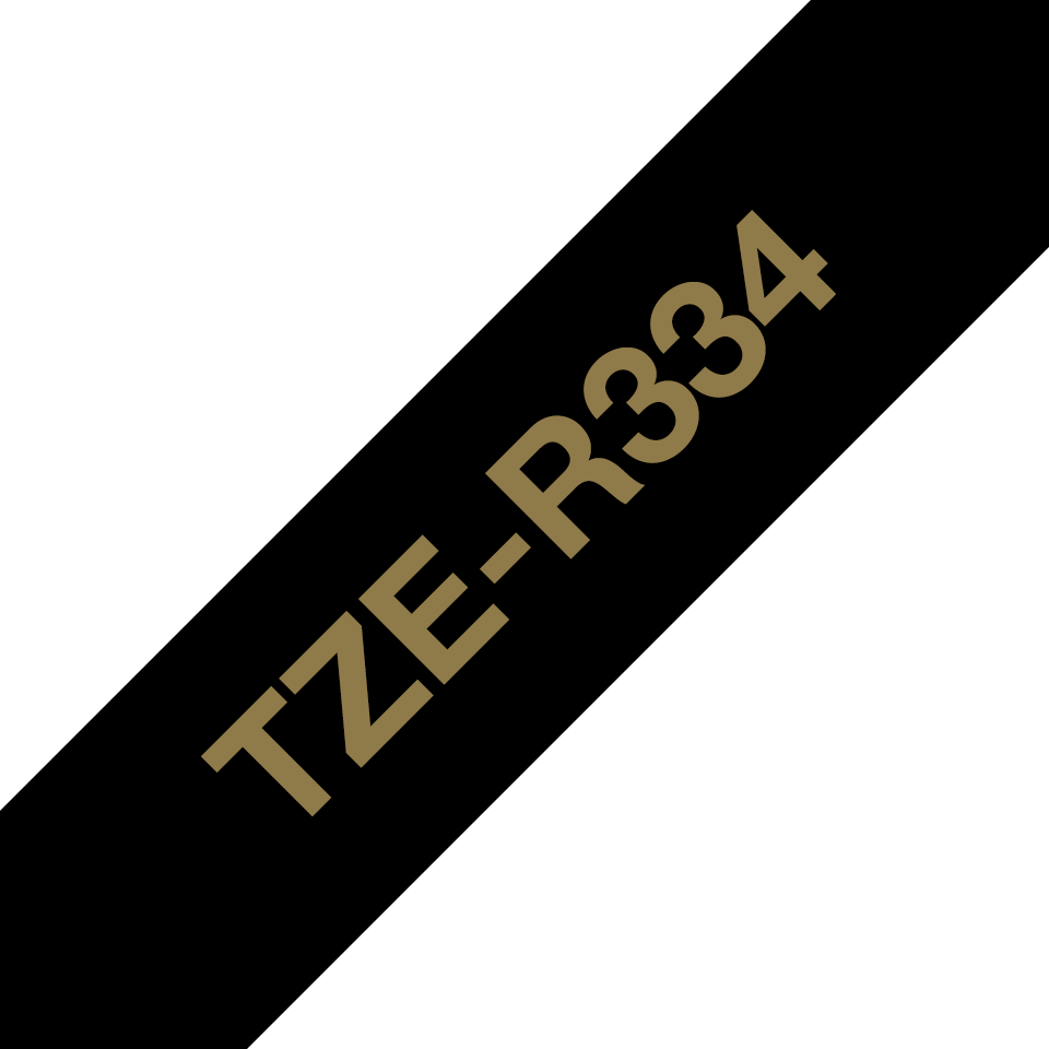 Originalt Brother TZe-R334 satinbånd – Guld på sort, 12 mm bredt 6