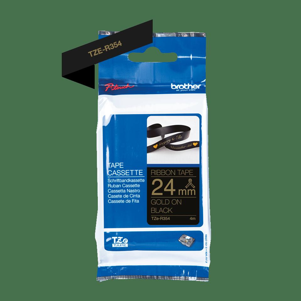 Originalt Brother TZe-R354 satinbånd – Guld på sort, 24 mm bredt 2