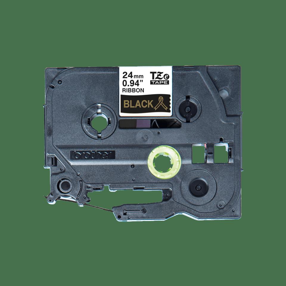 Originalt Brother TZe-R354 satinbånd – Guld på sort, 24 mm bredt 6