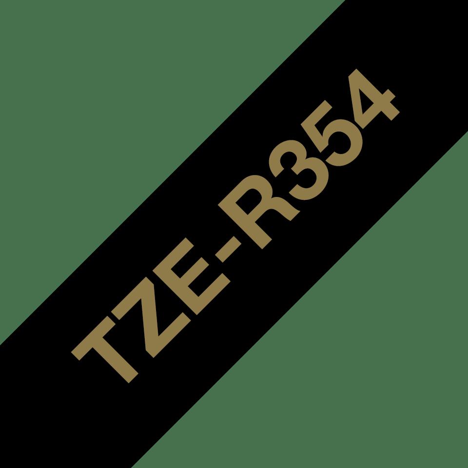 Originalt Brother TZe-R354 satinbånd – Guld på sort, 24 mm bredt