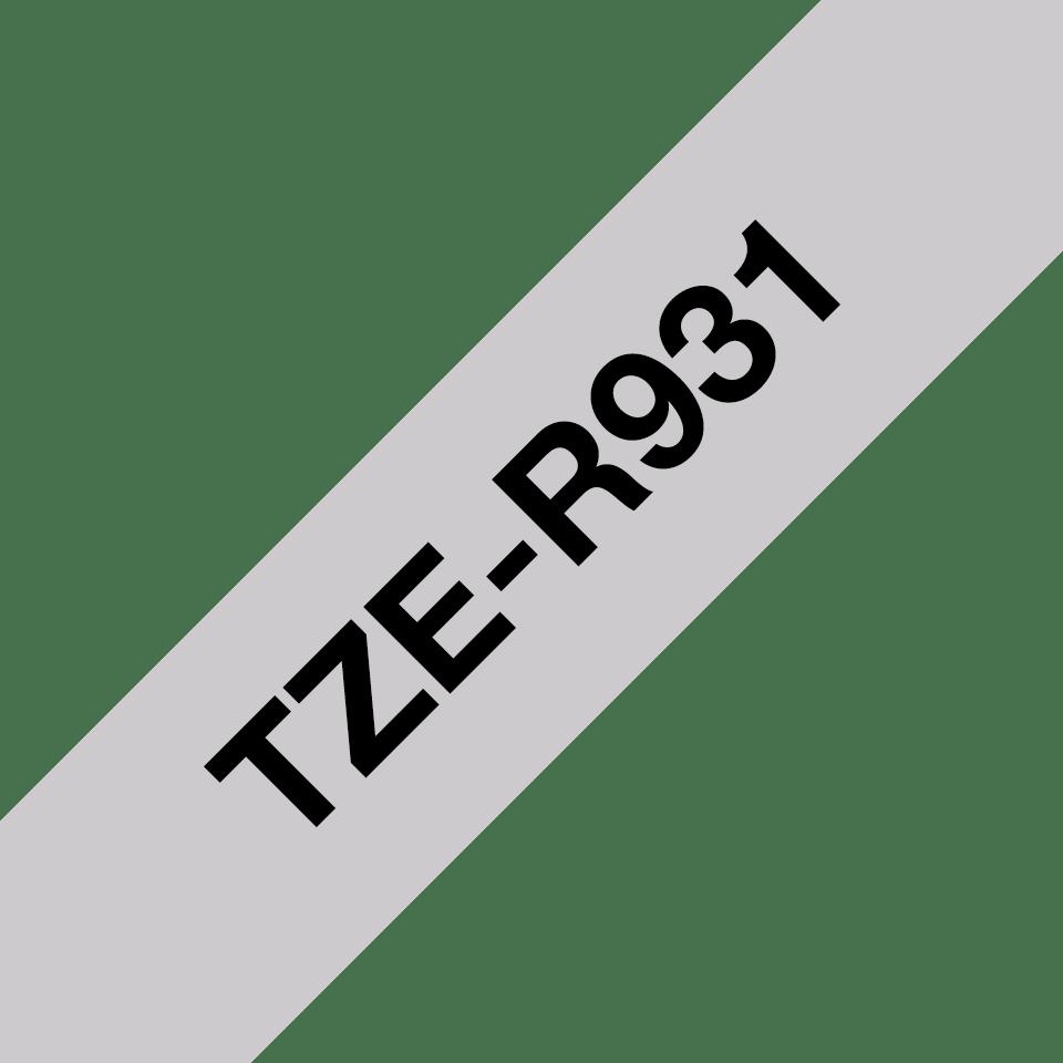 Originalt Brother TZe-R931 satinbånd - Sort på sølv, 12 mm bredt