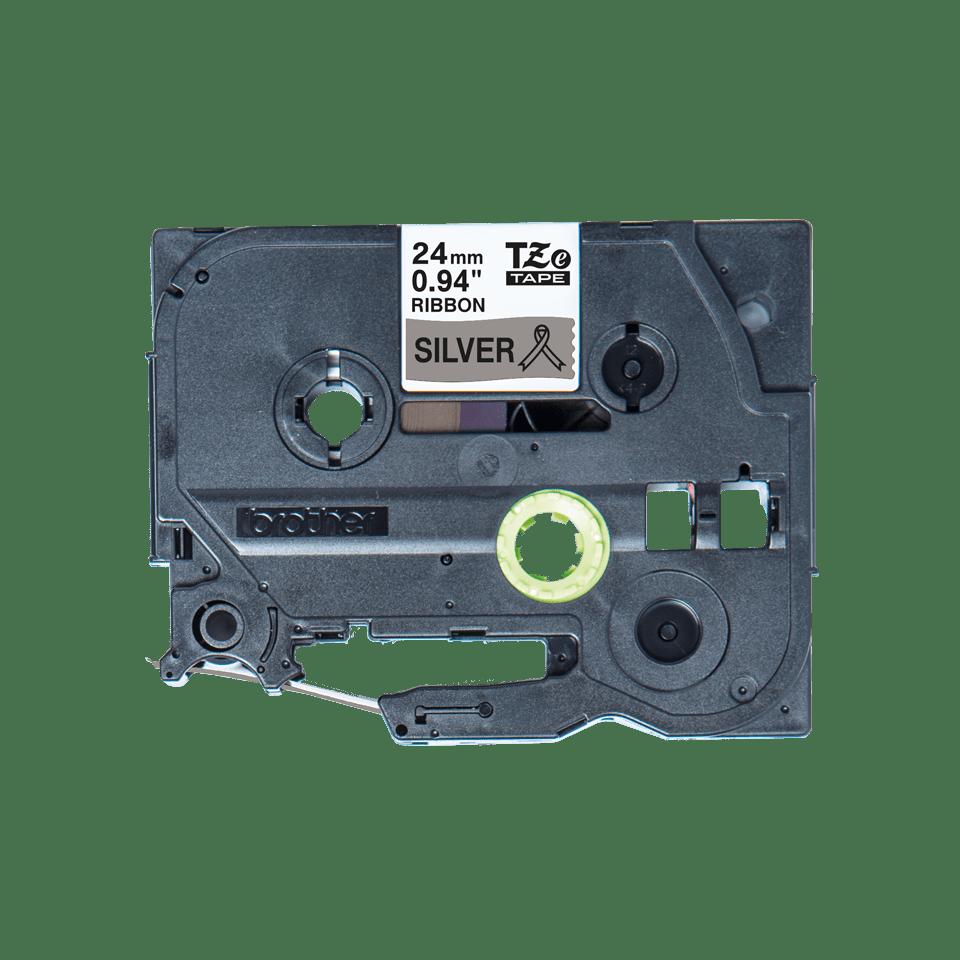 Originalt Brother TZe-R951 satinbånd – Sort på sølv, 24 mm bredt 5