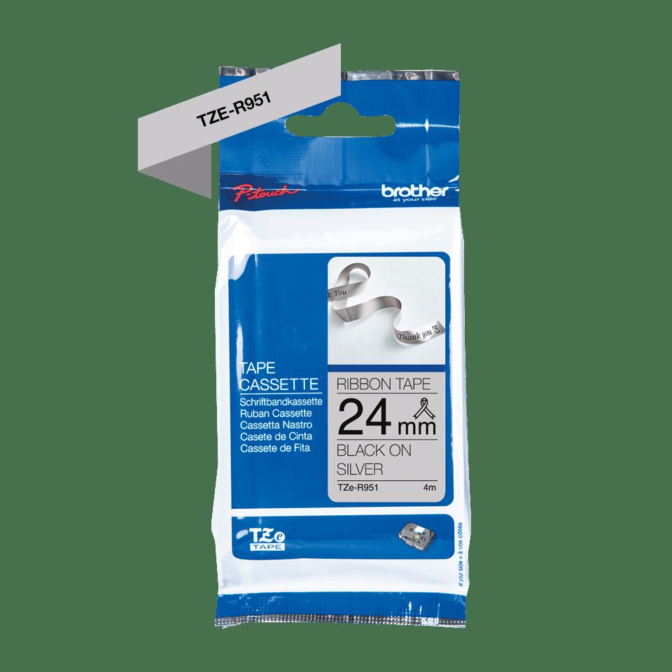 Originalt Brother TZe-R951 satinbånd – Sort på sølv, 24 mm bredt 6