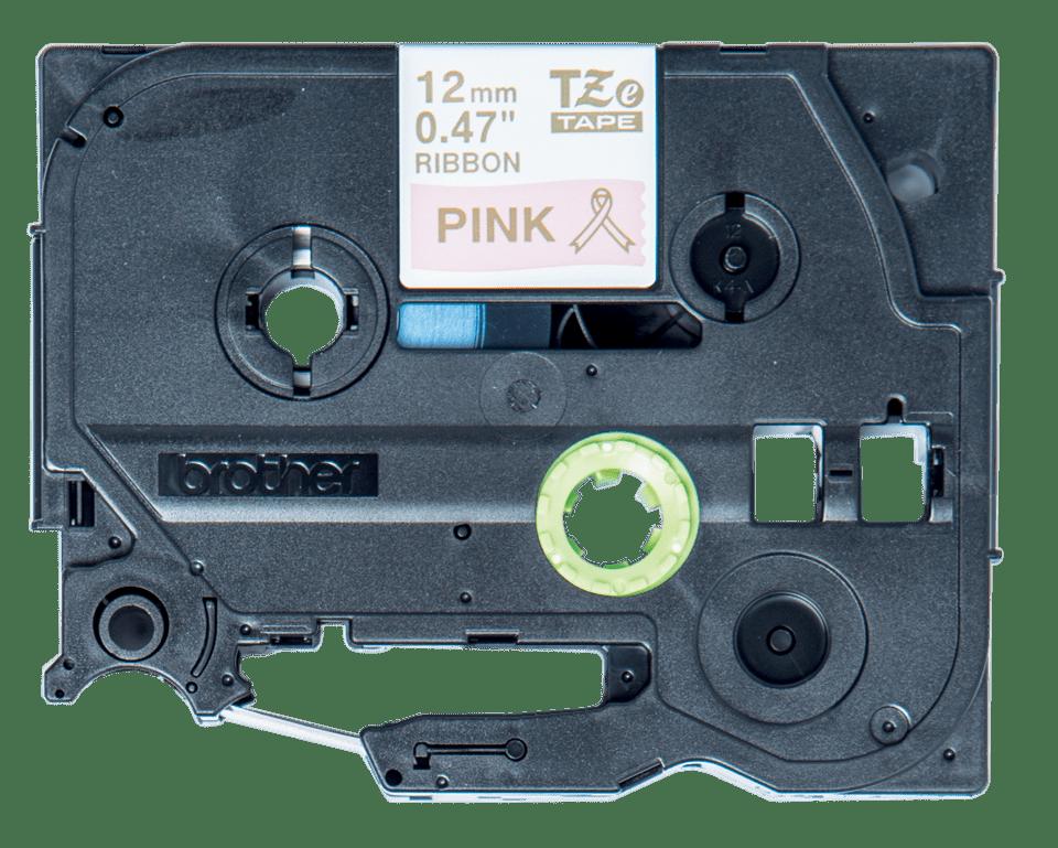 Original Brother TZeRE34 satinbånd – guld på pink, 12 mm bred