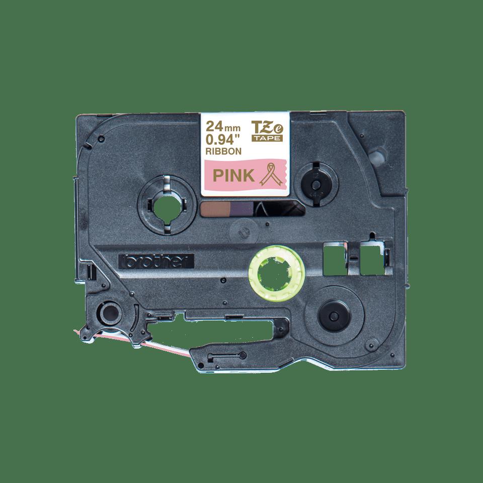 Originalt Brother TZe-RE54 satinbånd – Guld på lyserød, 24 mm bredt 4