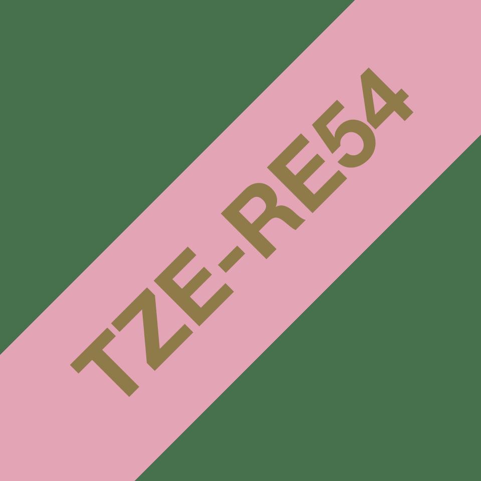 Originalt Brother TZe-RE54 satinbånd – Guld på lyserød, 24 mm bredt