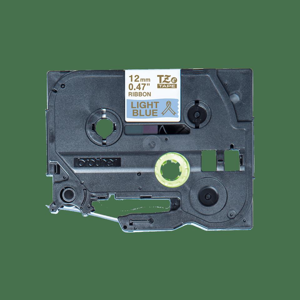 Original Brother TZe-RL34 satinbånd – Guld på lyseblå, 12 mm bredt 3