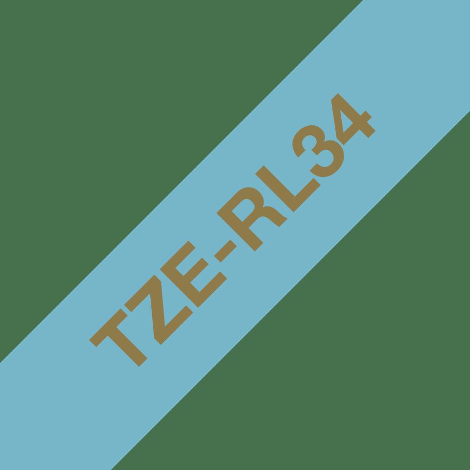 Original Brother TZe-RL34 satinbånd – Guld på lyseblå, 12 mm bredt