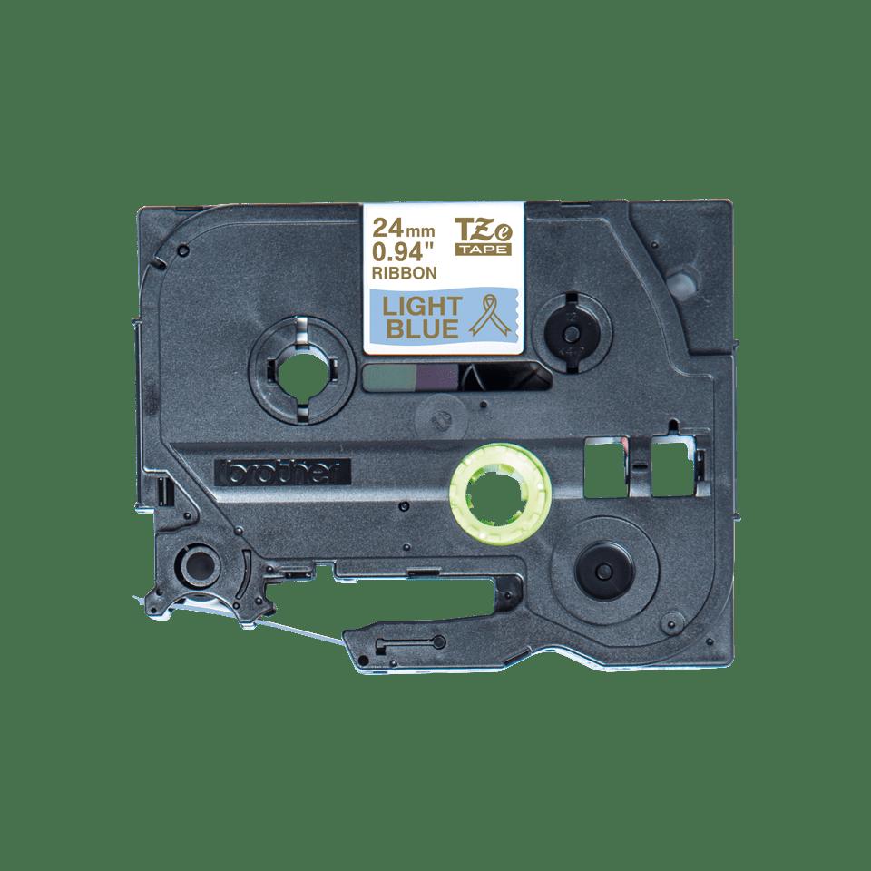 Originalt Brother TZe-RL54 satinbånd – Guld på lyseblå, 24 mm bredt
