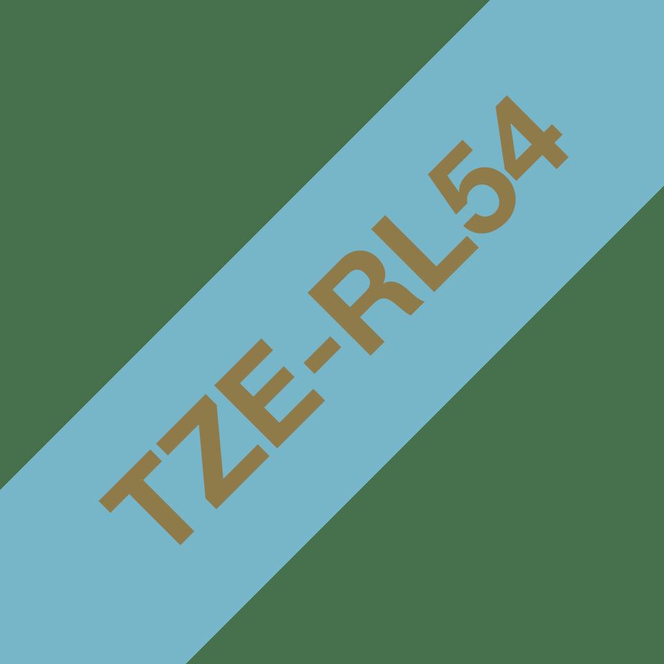 Originalt Brother TZe-RL54 satinbånd – Guld på lyseblå, 24 mm bredt 3