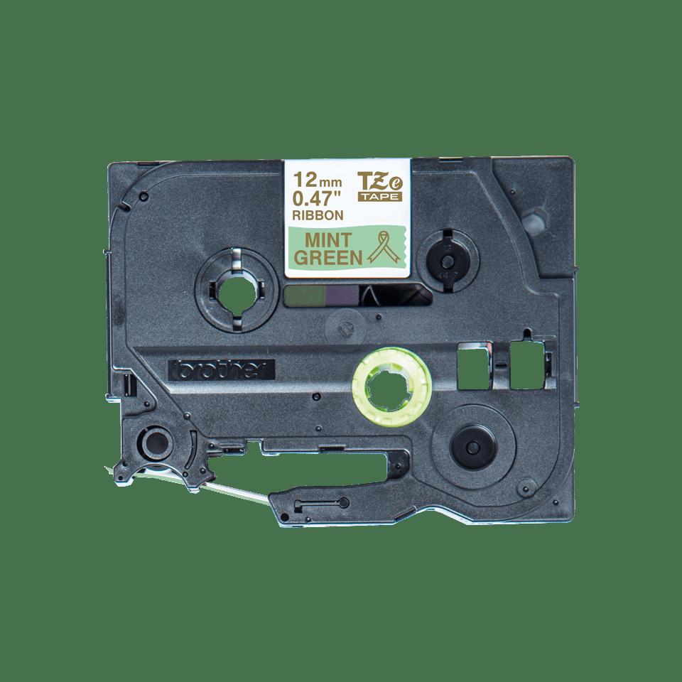 Originalt Brother TZe-RM34 satinbånd – Guld på mintgrøn, 12 mm bredt 3