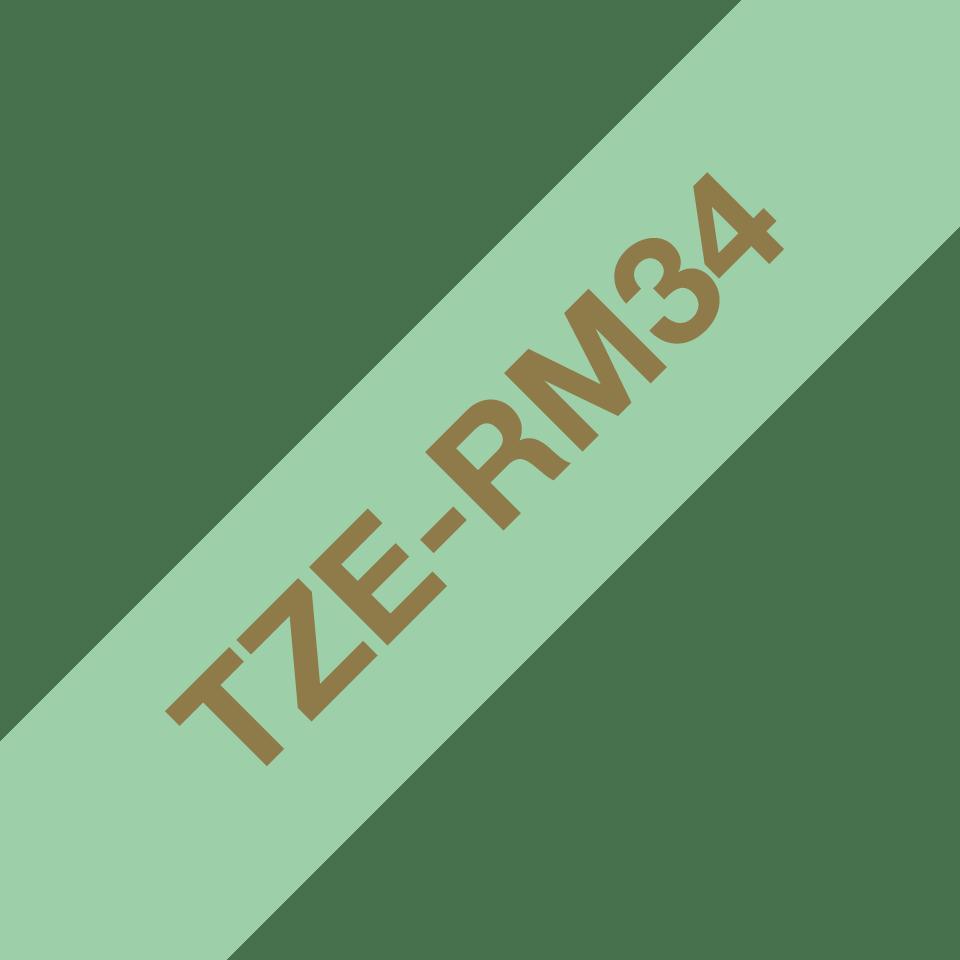 Originalt Brother TZe-RM34 satinbånd – Guld på mintgrøn, 12 mm bredt