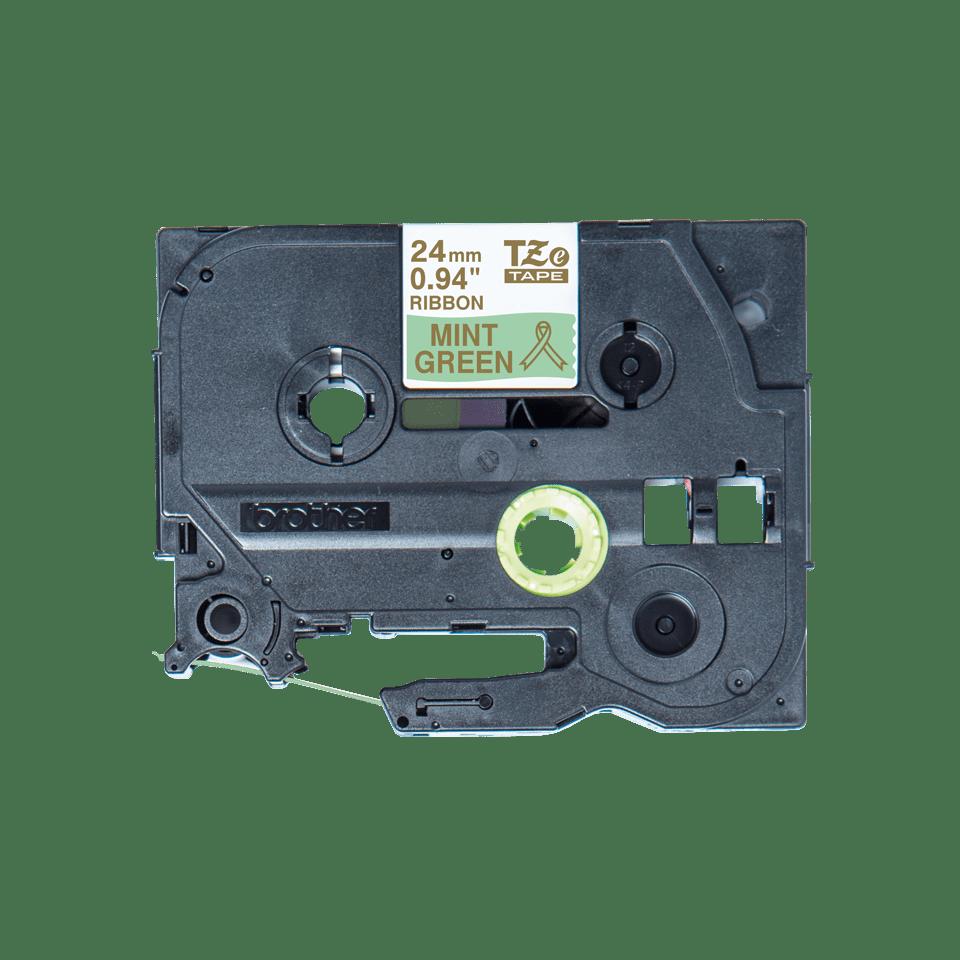 Originalt Brother TZe-RM54 satinbånd – Guld på mintgrøn, 24 mm bredt 4