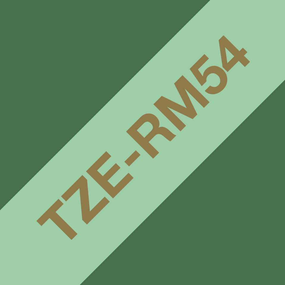 Originalt Brother TZe-RM54 satinbånd – Guld på mintgrøn, 24 mm bredt
