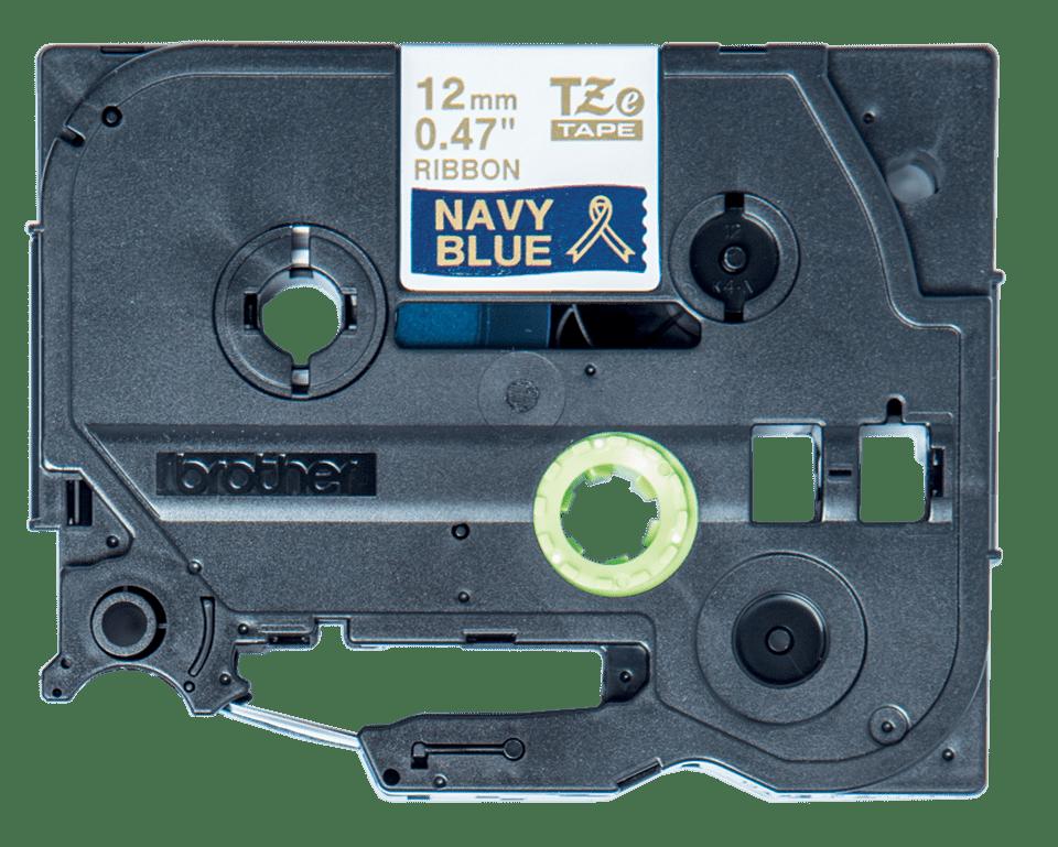 Original Brother TZe-RN34 satinbånd – guld på marineblå, 12 mm bred 3