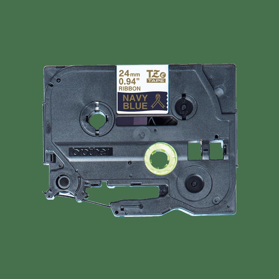 Original Brother TZe-RN54 satinbånd – Guld på marineblå, 24 mm bredt