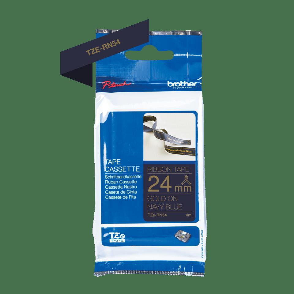 Original Brother TZe-RN54 satinbånd – Guld på marineblå, 24 mm bredt 2